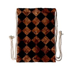 Square2 Black Marble & Brown Stone Drawstring Bag (small) by trendistuff