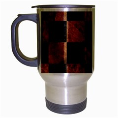 Square1 Black Marble & Brown Stone Travel Mug (silver Gray) by trendistuff
