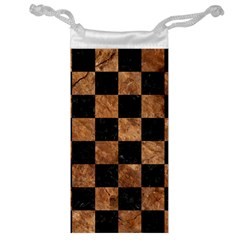 Square1 Black Marble & Brown Stone Jewelry Bag by trendistuff