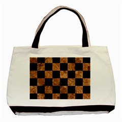 Square1 Black Marble & Brown Stone Basic Tote Bag (two Sides) by trendistuff