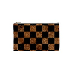 Square1 Black Marble & Brown Stone Cosmetic Bag (small) by trendistuff