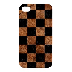 Square1 Black Marble & Brown Stone Apple Iphone 4/4s Hardshell Case by trendistuff