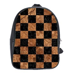 Square1 Black Marble & Brown Stone School Bag (xl) by trendistuff