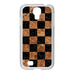 Square1 Black Marble & Brown Stone Samsung Galaxy S4 I9500/ I9505 Case (white) by trendistuff