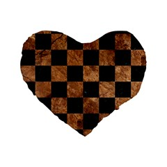 Square1 Black Marble & Brown Stone Standard 16  Premium Flano Heart Shape Cushion