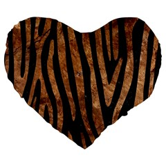 Skin4 Black Marble & Brown Stone (r) Large 19  Premium Flano Heart Shape Cushion by trendistuff