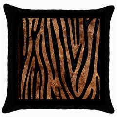 Skin4 Black Marble & Brown Stone Throw Pillow Case (black) by trendistuff