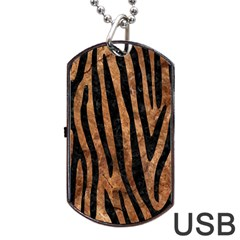 Skin4 Black Marble & Brown Stone Dog Tag Usb Flash (two Sides)