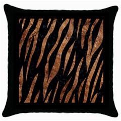 Skin3 Black Marble & Brown Stone Throw Pillow Case (black) by trendistuff