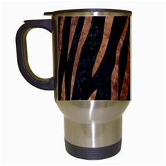 Skin3 Black Marble & Brown Stone Travel Mug (white) by trendistuff