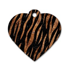 Skin3 Black Marble & Brown Stone Dog Tag Heart (one Side) by trendistuff