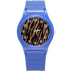 Skin3 Black Marble & Brown Stone Round Plastic Sport Watch (s) by trendistuff
