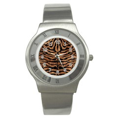 Skin2 Black Marble & Brown Stone (r) Stainless Steel Watch by trendistuff