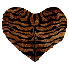 Skin2 Black Marble & Brown Stone (r) Large 19  Premium Flano Heart Shape Cushion by trendistuff