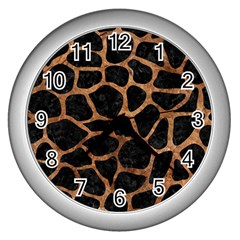 Skin1 Black Marble & Brown Stone (r) Wall Clock (silver) by trendistuff