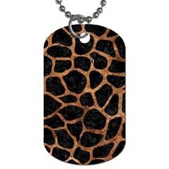 Skin1 Black Marble & Brown Stone (r) Dog Tag (one Side) by trendistuff