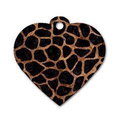 Skin1 Black Marble & Brown Stone (r) Dog Tag Heart (two Sides) by trendistuff