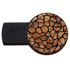 Skin1 Black Marble & Brown Stone Usb Flash Drive Round (4 Gb) by trendistuff