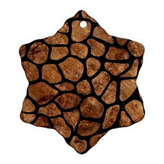 Skin1 Black Marble & Brown Stone Ornament (snowflake) by trendistuff