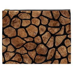 Skin1 Black Marble & Brown Stone Cosmetic Bag (xxxl) by trendistuff