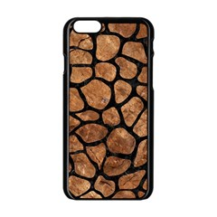 Skin1 Black Marble & Brown Stone Apple Iphone 6/6s Black Enamel Case by trendistuff