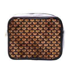 Scales3 Black Marble & Brown Stone (r) Mini Toiletries Bag (one Side) by trendistuff