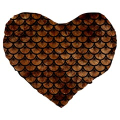 Scales3 Black Marble & Brown Stone (r) Large 19  Premium Flano Heart Shape Cushion by trendistuff