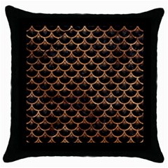 Scales3 Black Marble & Brown Stone Throw Pillow Case (black) by trendistuff