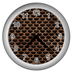 Scales3 Black Marble & Brown Stone Wall Clock (silver) by trendistuff