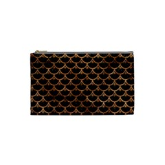 Scales3 Black Marble & Brown Stone Cosmetic Bag (small) by trendistuff