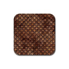 Scales2 Black Marble & Brown Stone (r) Rubber Square Coaster (4 Pack) by trendistuff