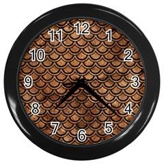 Scales2 Black Marble & Brown Stone (r) Wall Clock (black) by trendistuff