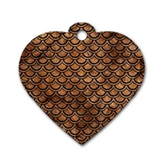 Scales2 Black Marble & Brown Stone (r) Dog Tag Heart (one Side) by trendistuff