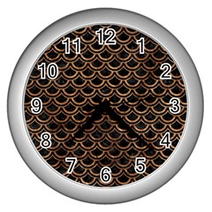 Scales2 Black Marble & Brown Stone Wall Clock (silver) by trendistuff