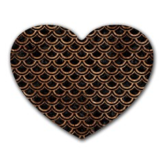 Scales2 Black Marble & Brown Stone Heart Mousepad by trendistuff