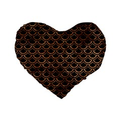 Scales2 Black Marble & Brown Stone Standard 16  Premium Flano Heart Shape Cushion  by trendistuff