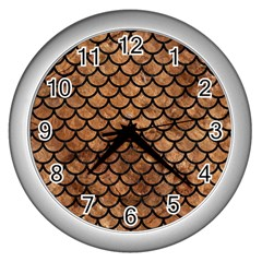 Scales1 Black Marble & Brown Stone (r) Wall Clock (silver) by trendistuff