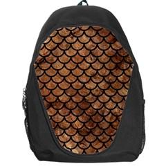Scales1 Black Marble & Brown Stone (r) Backpack Bag by trendistuff