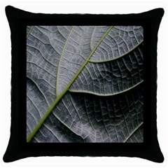 Leaf Detail Macro Of A Leaf Throw Pillow Case (black)