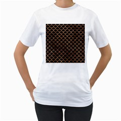 Scales1 Black Marble & Brown Stone Women s T Shirt (white) (two Sided) by trendistuff