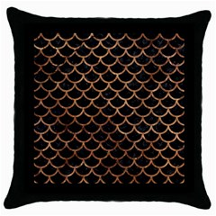 Scales1 Black Marble & Brown Stone Throw Pillow Case (black) by trendistuff