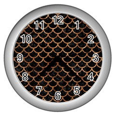 Scales1 Black Marble & Brown Stone Wall Clock (silver) by trendistuff