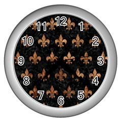 Royal1 Black Marble & Brown Stone (r) Wall Clock (silver) by trendistuff