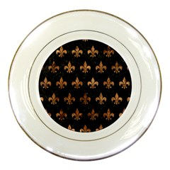 Royal1 Black Marble & Brown Stone (r) Porcelain Plate by trendistuff
