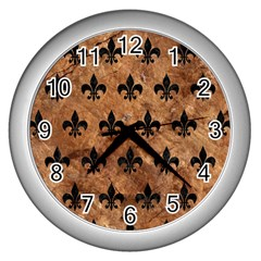Royal1 Black Marble & Brown Stone Wall Clock (silver) by trendistuff