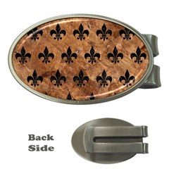 Royal1 Black Marble & Brown Stone Money Clip (oval) by trendistuff