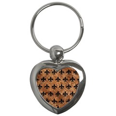 Royal1 Black Marble & Brown Stone Key Chain (heart) by trendistuff