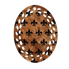 Royal1 Black Marble & Brown Stone Oval Filigree Ornament (two Sides) by trendistuff