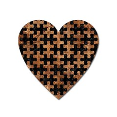 Puzzle1 Black Marble & Brown Stone Magnet (heart) by trendistuff