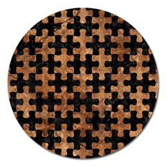 Puzzle1 Black Marble & Brown Stone Magnet 5  (round) by trendistuff